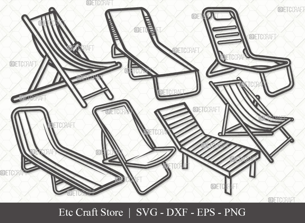 Beach Chair Outline SVG Cut File | Summer Svg