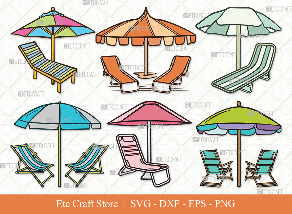 Beach Chairs With Umbrella Clipart SVG Cut File
