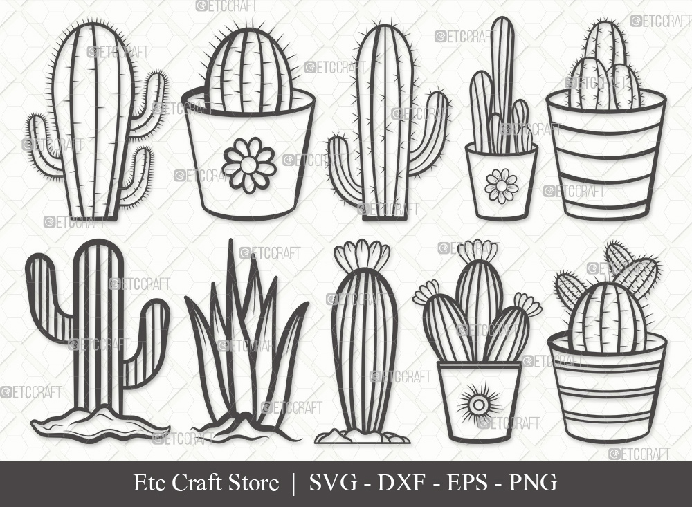 Cactus Outline SVG | Plant | Cactus SVG Bundle