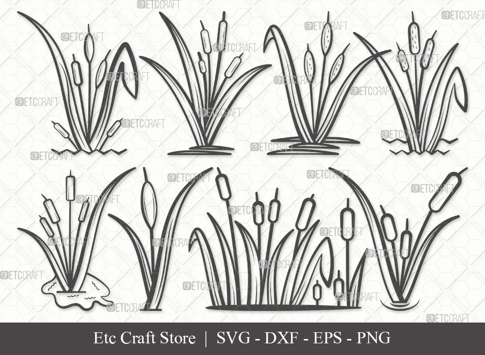 Cattail Outline SVG Cut File   Cattail Plant SVG
