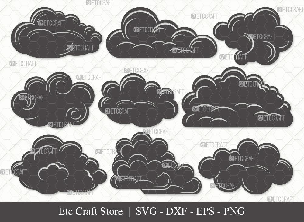 Cloud Silhouette SVG Cut File | Rain Cloud SVG