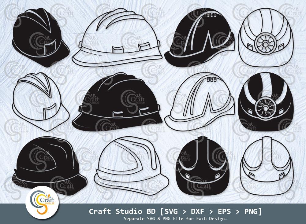 Construction Hat Silhouette, Helmet SVG Bundle