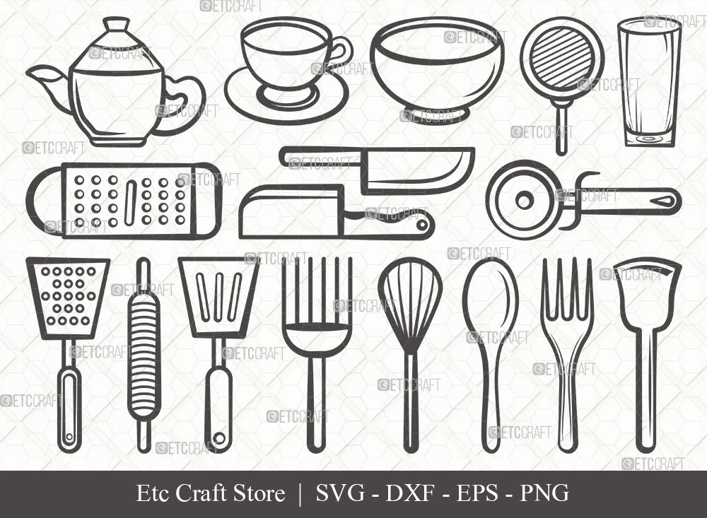 Kitchen Outline SVG | Cooking Utensils Svg