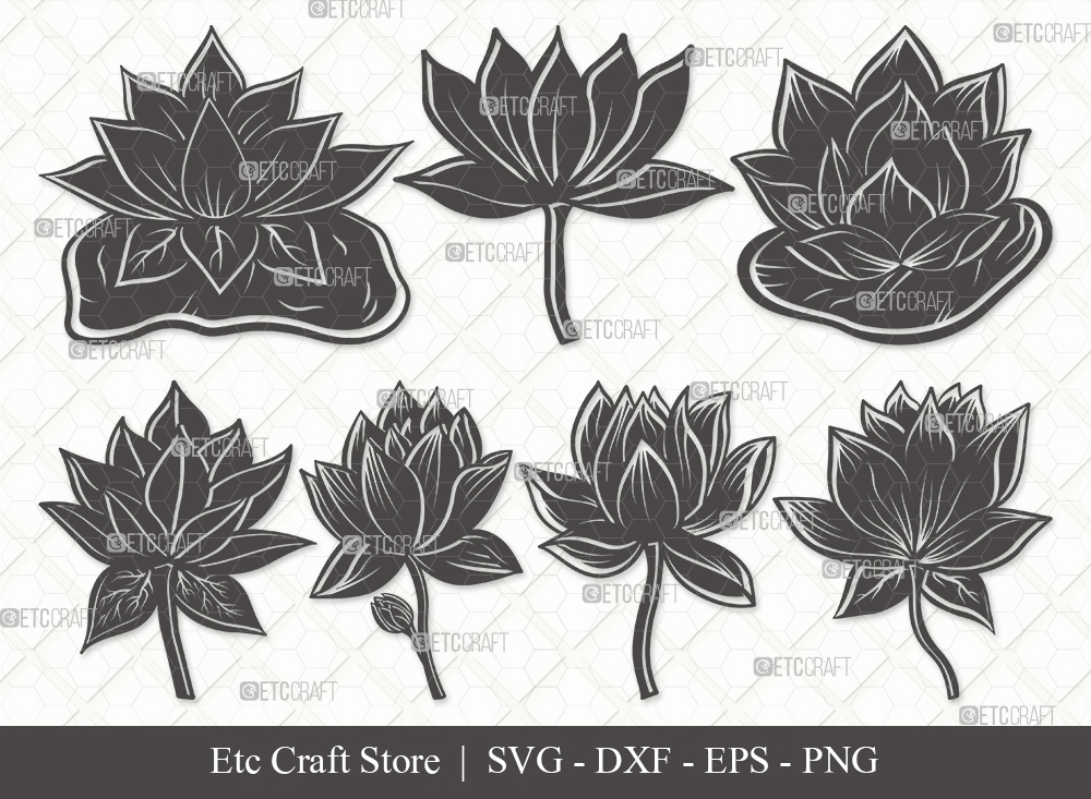 Lotus Flower Silhouette SVG | Lotus Flower SVG