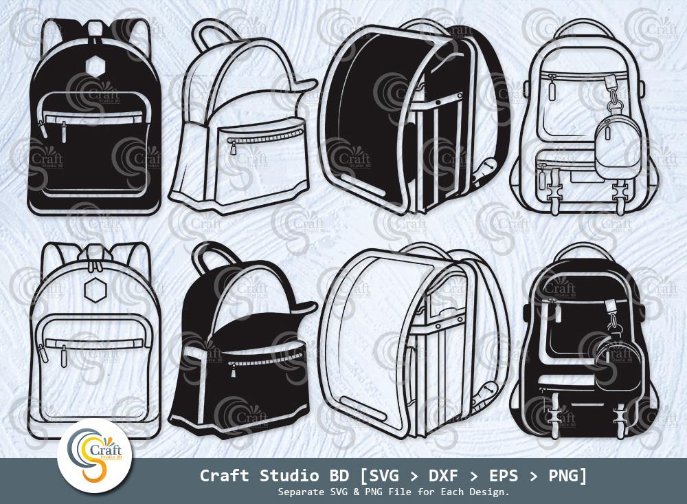 School Backpack Silhouette, Backpack SVG