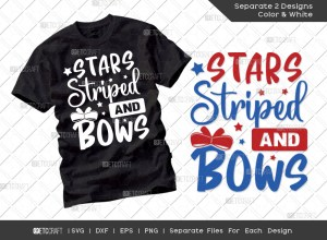 Stars Striped And Bows SVG Cut File