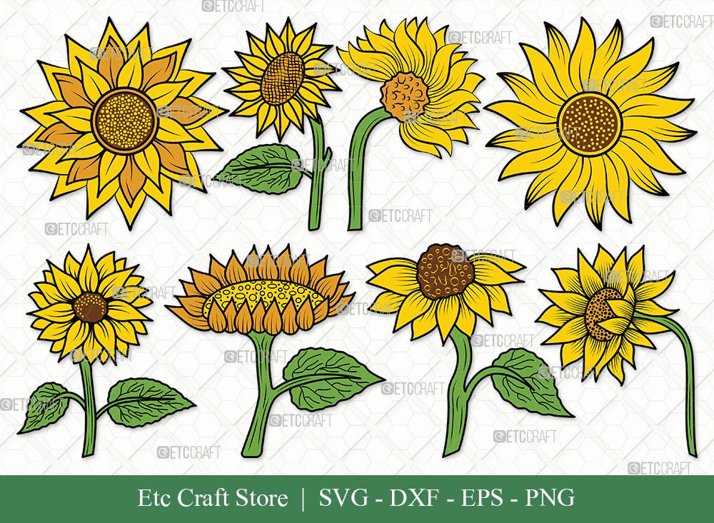 Sunflower Clipart SVG   Sunflower SVG Bundle