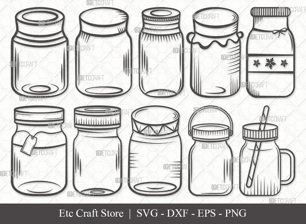 Mason Jars Outline | Mason Jar SVG Bundle