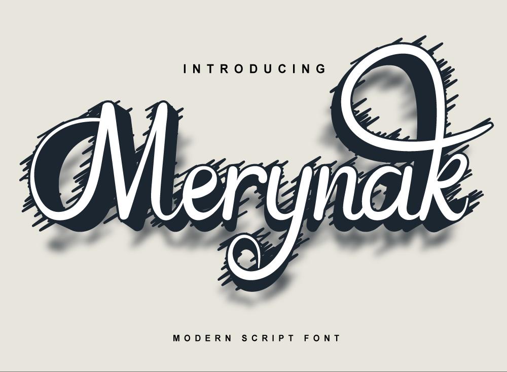Merynak Font, Modern Script Font, OTF File