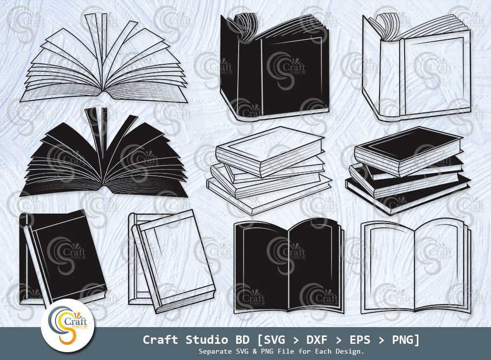 Book Silhouette, Stacked Books SVG, Book SVG