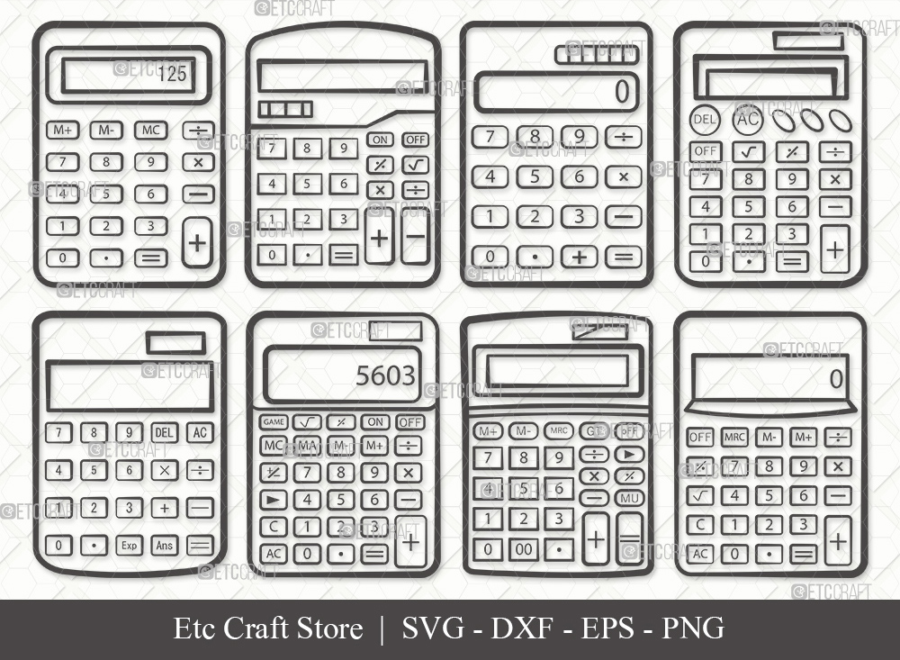 Calculator Outline SVG | Calculator SVG Bundle