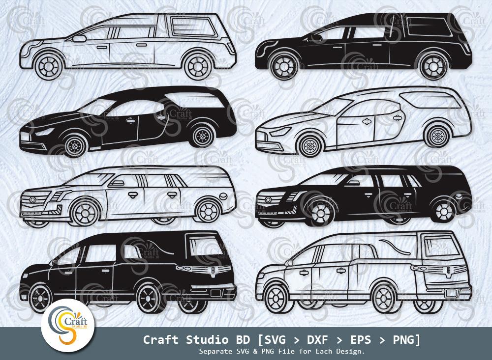 Hearses Silhouette, Haunted Hearse Car SVG