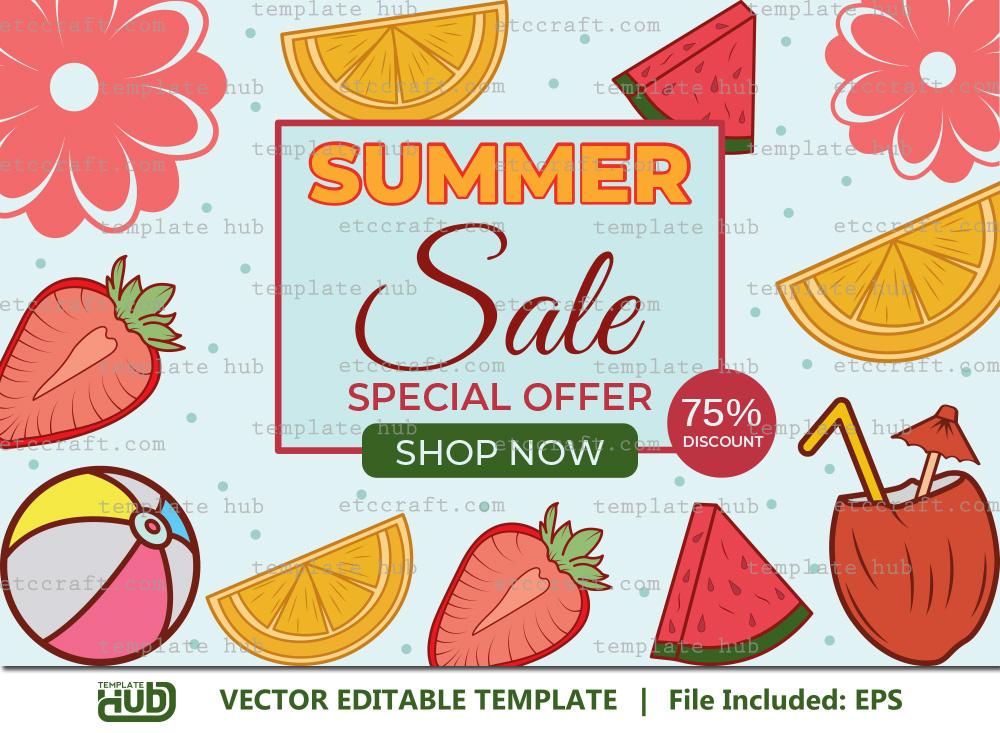 Summer Sale Banner, Offer Template