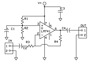 Inverting Audio Preamplifier circuit