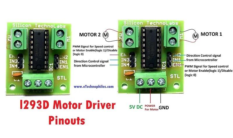 L293D Motor Driver Pinouts