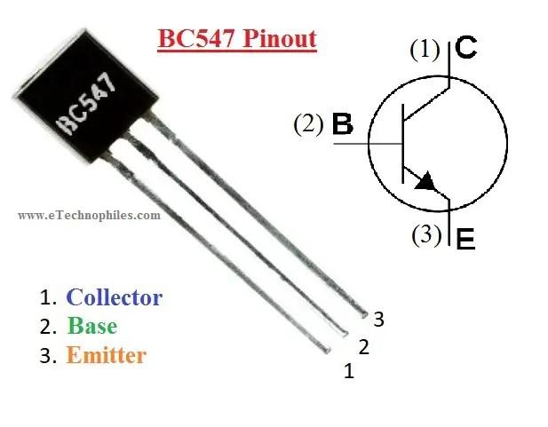 Pinouts of BC547 transistor
