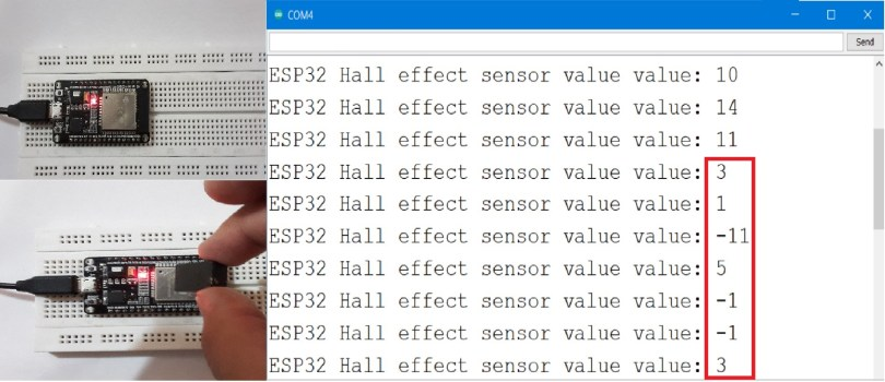 Fluctuating magnetic field measured using ESP32 Hall effect sensor