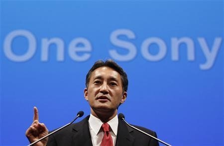 Sony Corp's new President and Chief Executive Officer Hirai attends a news conference at the company headquarters in Tokyo