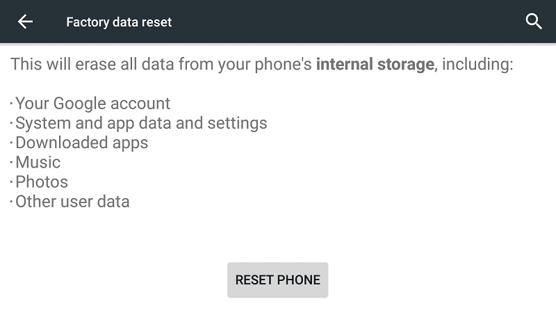 Android Factory Reset