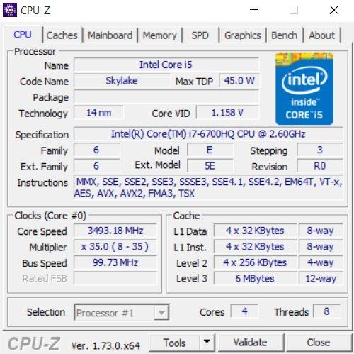 MSI GE62 6QD CPU-Z