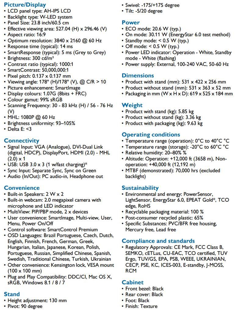 Spécifications Philips 241P6VPJKEB