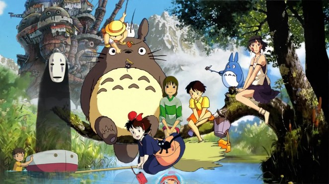 Most of the Studio Ghibli character sat on a tree branch