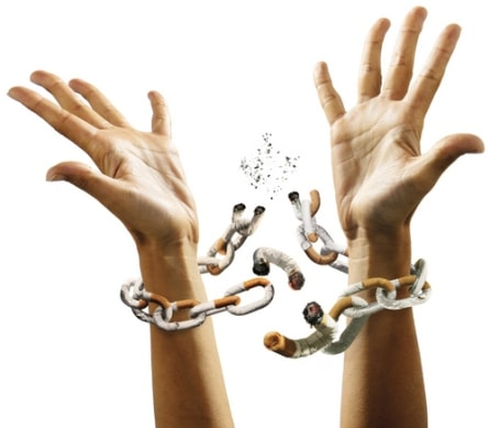 Hands Breaking Cigarette Chain After Quit Smoking Hypnosis