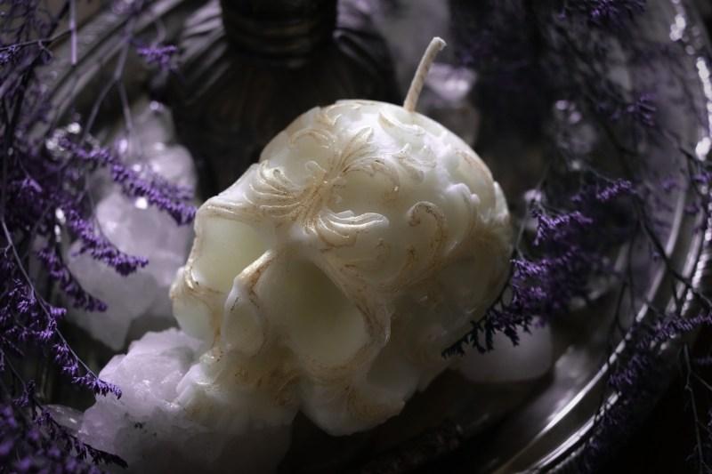 White Skull Candle