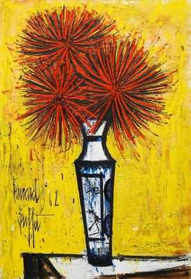 Les dahlias rouges, par Bernard Buffet