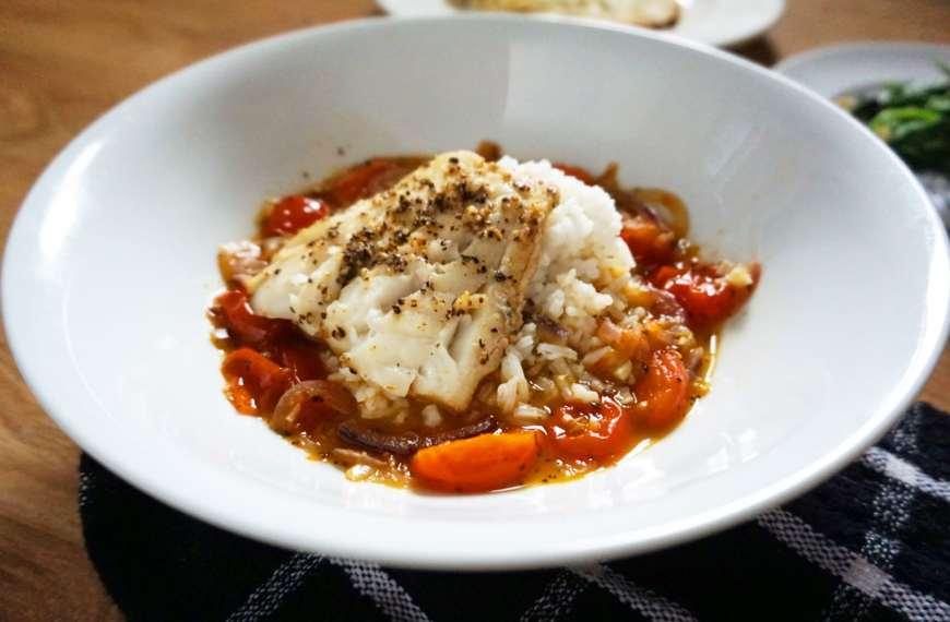 Saffron Tomato Poached Cod Recipe
