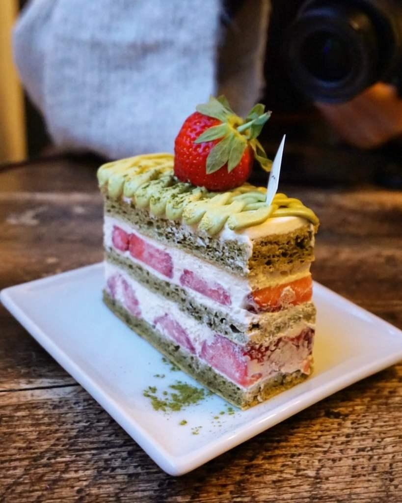 Matcha Strawberry Shortcake at Katsute 100