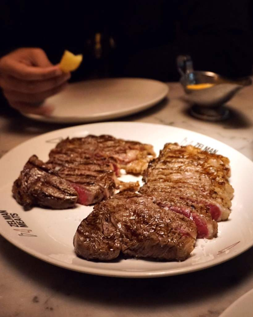 Image of a plate of steaks at Zelman Meats Soho