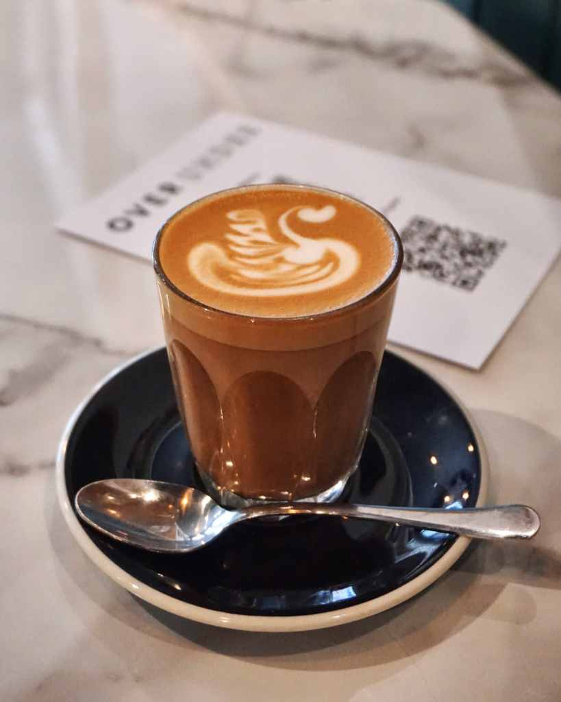 Image of a cup of latte at Over Under Ladbroke Grove