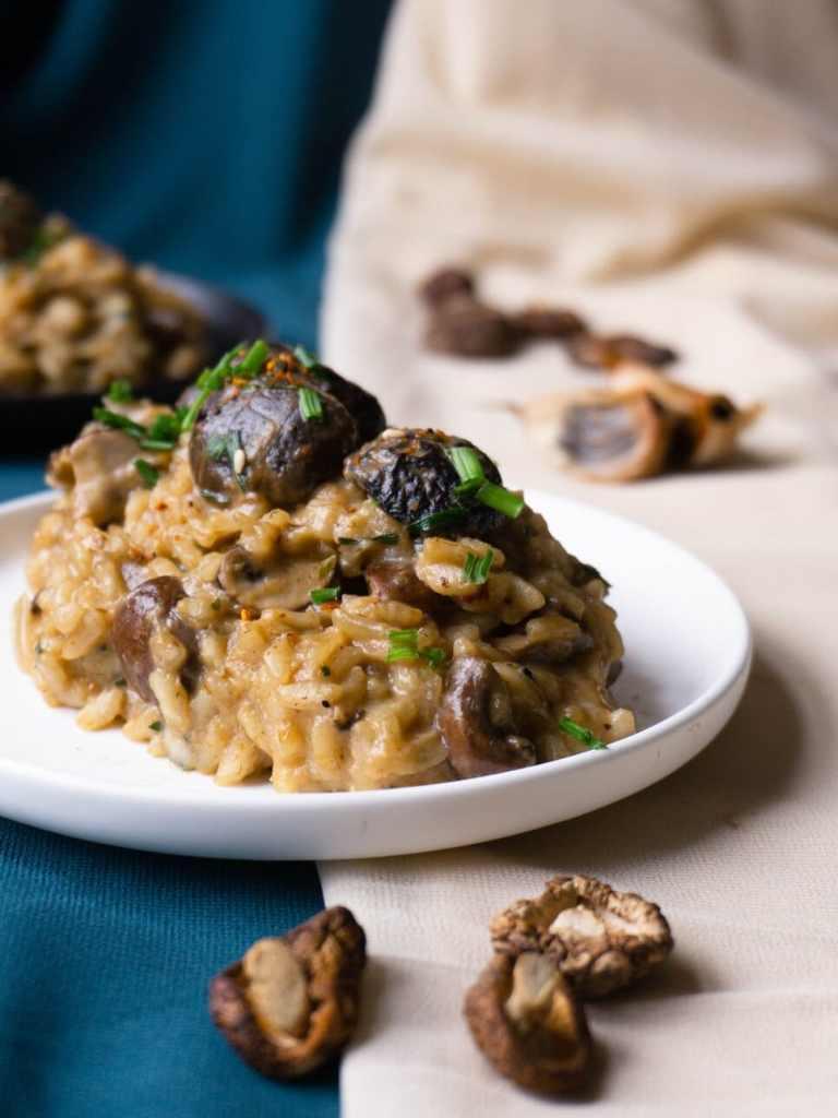 Black Garlic Miso Mushrooms Risotto