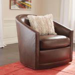 Baylee Leather Upholstered Barrel Back Swivel Chair Ethan Allen
