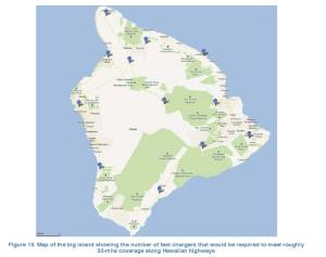 Ideal locations for fast-chargers on the Big Island