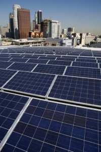 Rooftop solar near downtown.  Photo: LA Times
