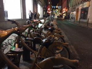 Bikeshare station in Paris