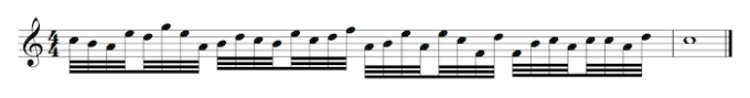 thirty-second notes and whole note