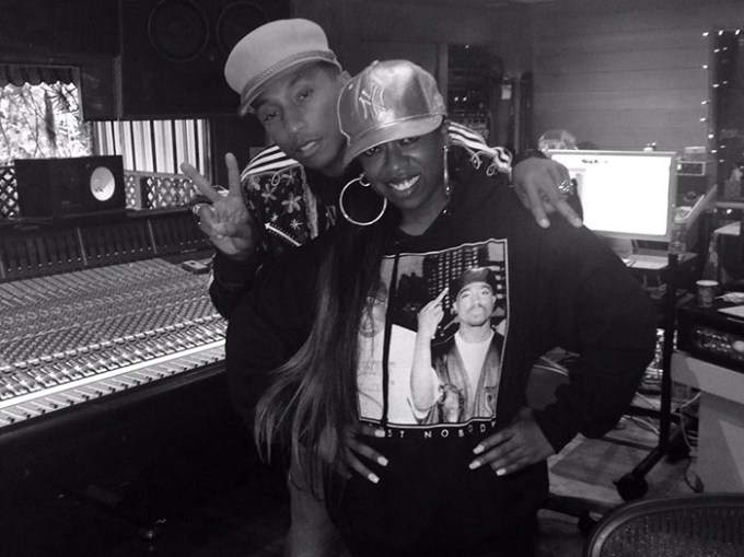 Pharrell and Missy Elliott in the studio