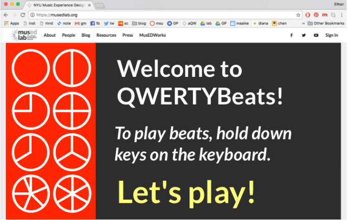 QWERTYBeats desktop - load screen