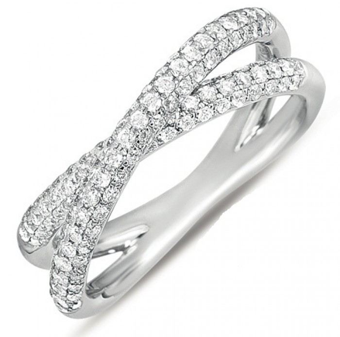 Micropave Crossover Diamond Ring