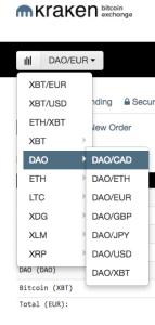 Kraken fournit des paires d'échange DAO vers 7 autres devises