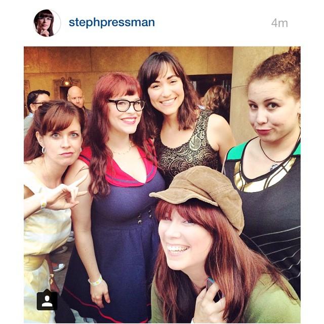 Heidi Honeycutt, Stephanie Pressman, America Young, Anastasia Washington, and Leah Cevoli having a blast at Etheria Film Night 2015