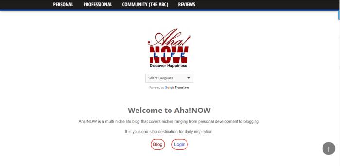 AhaNOW Homepage Screenshot