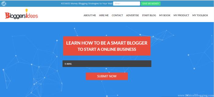 BloggersIdeas Homepage Screenshot
