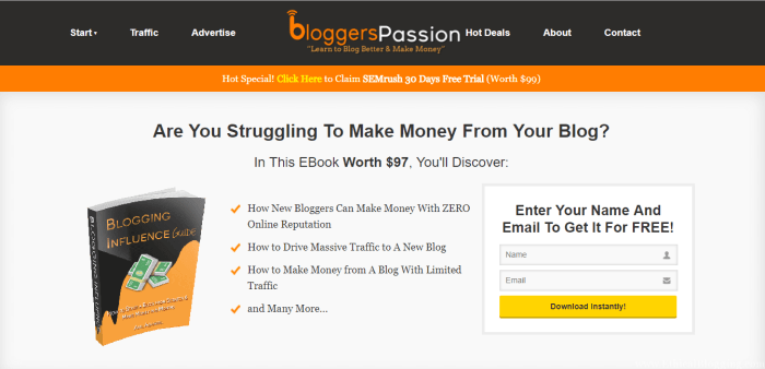 BloggersPassion Homepage Screenshot