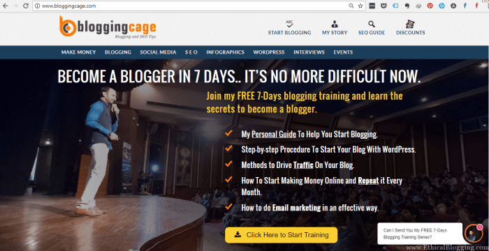BloggingCage Homepage Screenshot