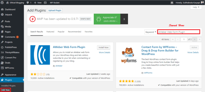 Installing a WordPress Plugin Using WordPress Plugin Repository 1