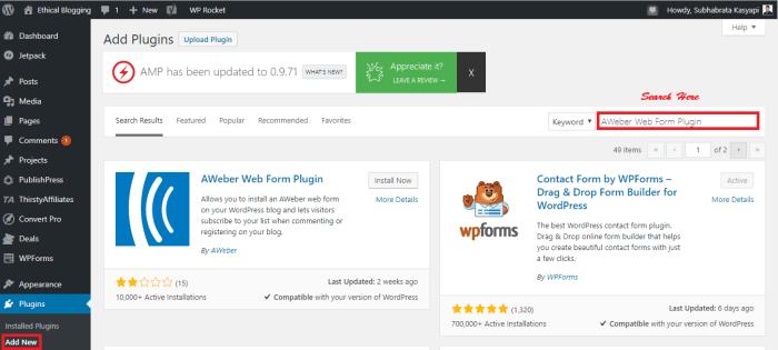 Installing a WordPress Plugin Using WordPress Plugin Repository 1